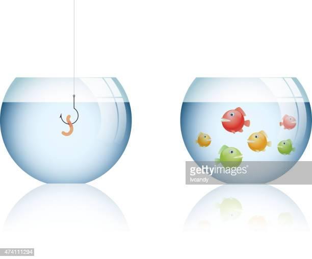 market positioning mistake - fishbowl stock illustrations, clip art, cartoons, & icons