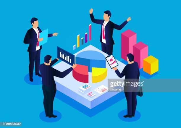 ilustraciones, imágenes clip art, dibujos animados e iconos de stock de investigación de mercado y análisis de beneficios, los miembros del equipo analizan los indicadores de beneficios y la cuota de mercado - oficio de ventas