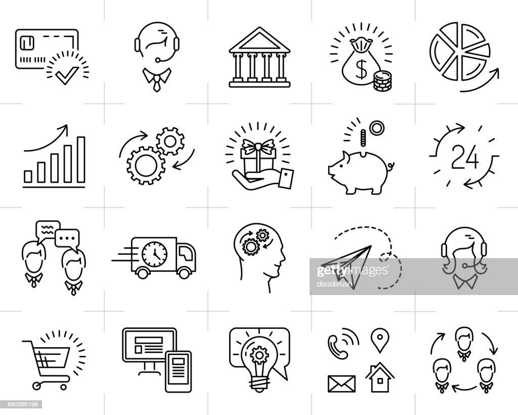 Market shop Vector business line icon art Flat design