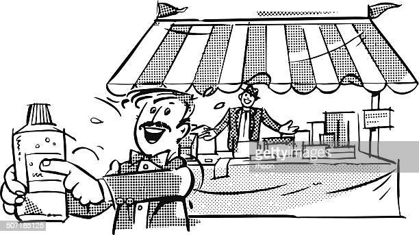 ilustraciones, imágenes clip art, dibujos animados e iconos de stock de puesto de mercado - puesto de mercado