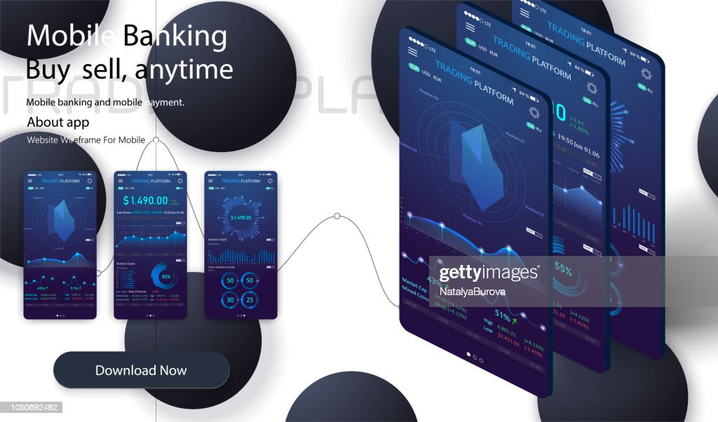 Market trade. Binary option. Trading platform, account. Money Making, business. Market analysis. Investing. Screen of user interface for phone,Modern 3d trade app