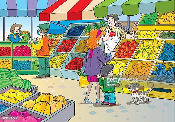 ilustraciones, imágenes clip art, dibujos animados e iconos de stock de el mercado - puesto de mercado