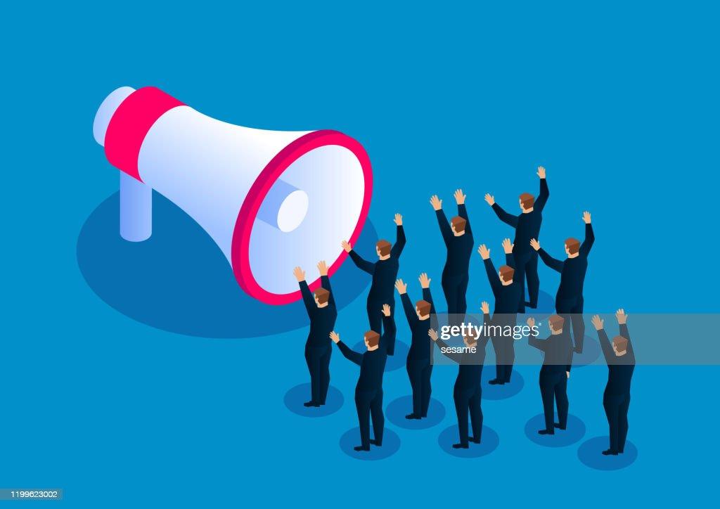 Marketing Publicidad Promoción De Negocios Megaphone Cheering Crowd Ilustración de stock - Getty Images