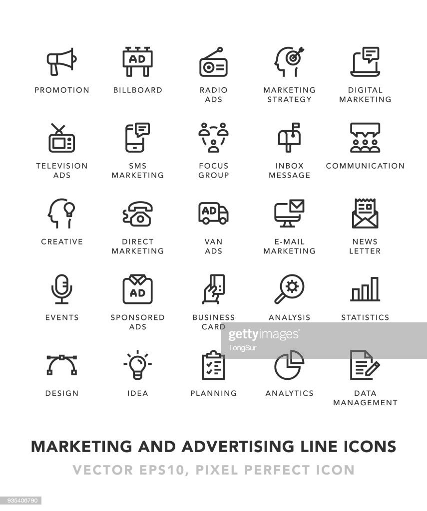 Marketing and Advertising Line Icons
