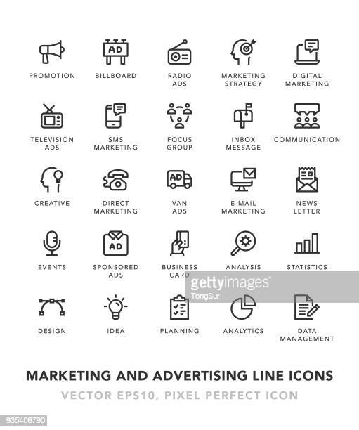 marketing and advertising line icons - marketing stock illustrations