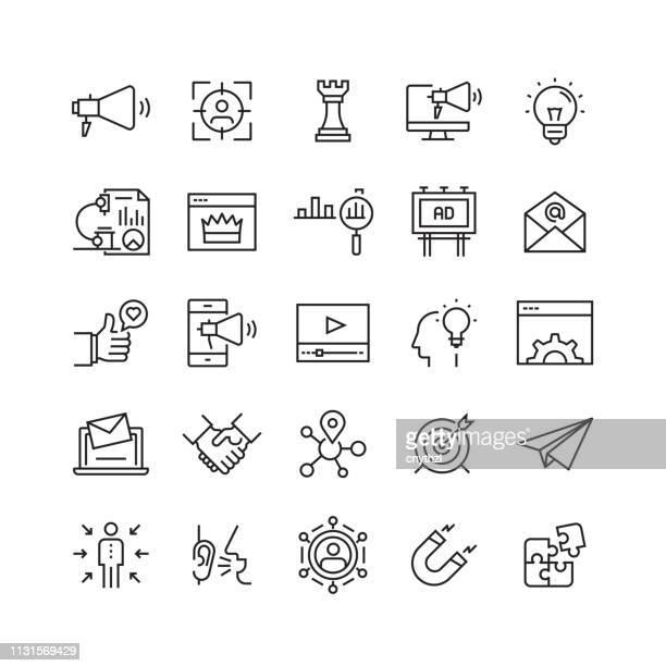 marketing und werbung verwandte vector line icons - geschäftliche aktivitäten stock-grafiken, -clipart, -cartoons und -symbole