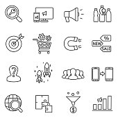 marketing and promotion icons set.