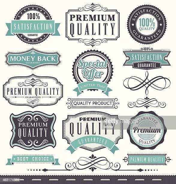 Marketing emblemas e vintage frame set