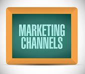 marketing channels blackboard sign illustration