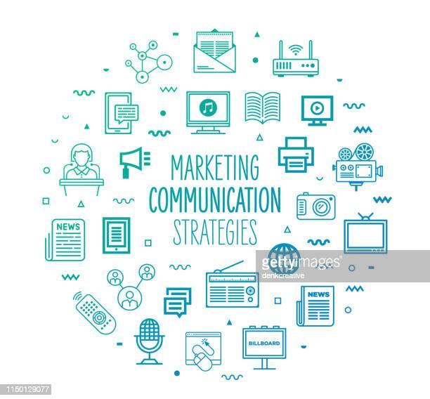 ilustrações, clipart, desenhos animados e ícones de marketing & estratégias de comunicação esboço estilo infográfico design - variação