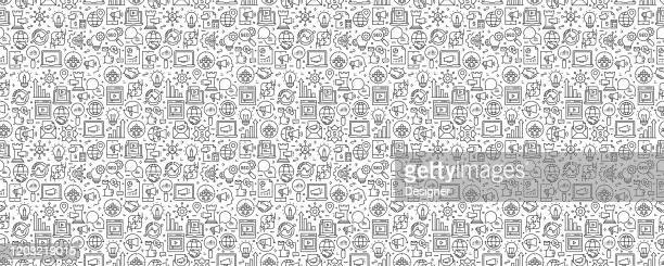 marketing concept seamless pattern and background with line icons - digital marketing stock illustrations