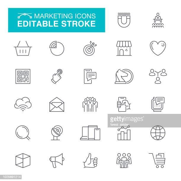 ilustrações, clipart, desenhos animados e ícones de curso editável ícones de marketing - ícone de redes sociais