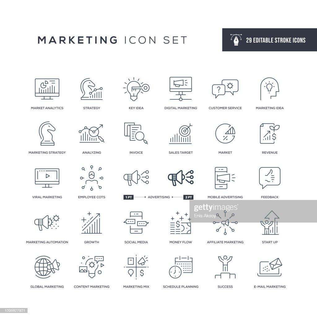 Marketing editierbare Strichliniensymbole : Stock-Illustration
