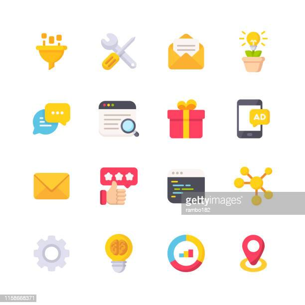 marketing flat icons. material design icons. pixel perfect. for mobile and web. contains such icons as funnel, tools, email marketing, text messaging, customer relationship management, review, analytics. seo. - testimonial stock illustrations, clip art, cartoons, & icons
