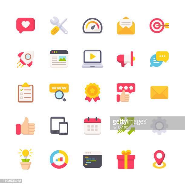 marketing flache icons. material design icons. pixel perfekt. für mobile und web. enthält symbole wie e-mail marketing, social media, werbung, start up, like button, video ads, global business. - marketing stock-grafiken, -clipart, -cartoons und -symbole