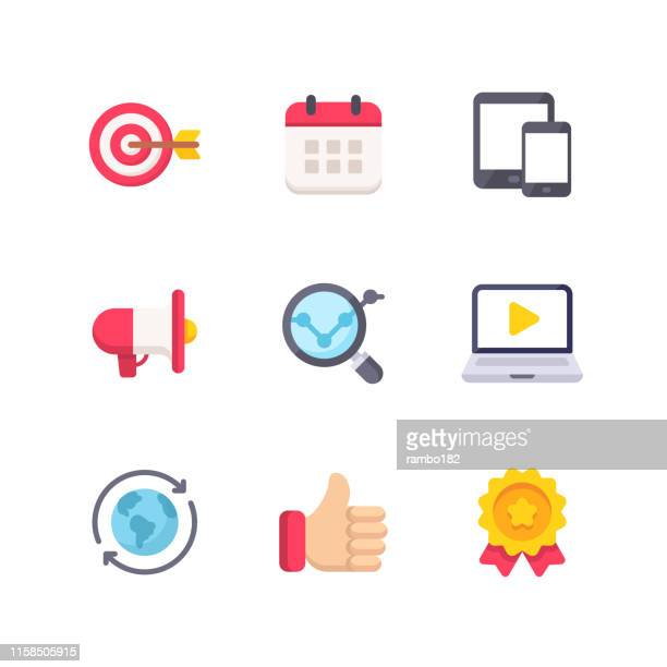 marketing flat icons. pixel perfect. for mobile and web. contains such icons as target, calendar, devices, advertising, like button, medal, global business. - locator map stock illustrations