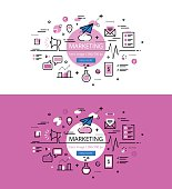Marketing. Flat line color hero images and hero banners design concept