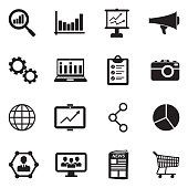 Marketing Icons. Black Flat Design. Vector Illustration.