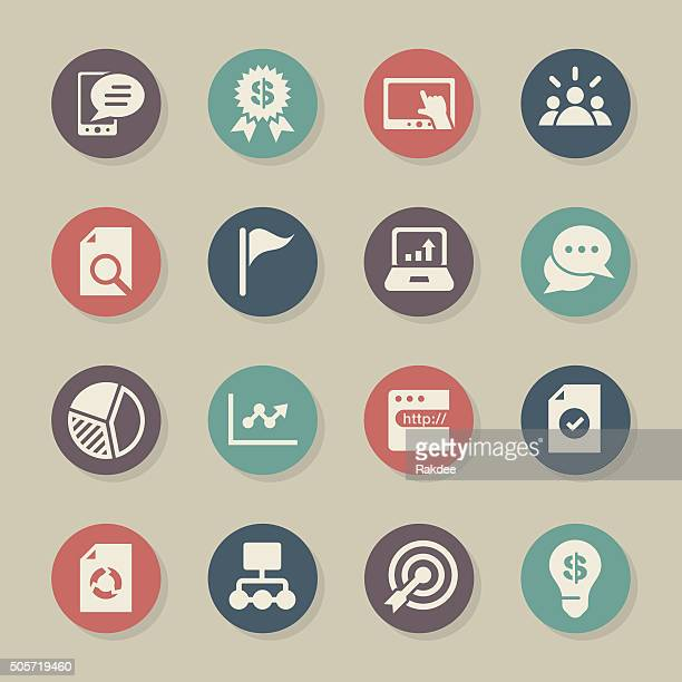 marketing icons - color circle series - online advertising stock illustrations, clip art, cartoons, & icons