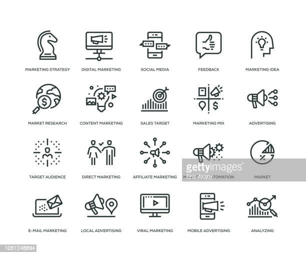 marketing icons - line series - aiming stock illustrations