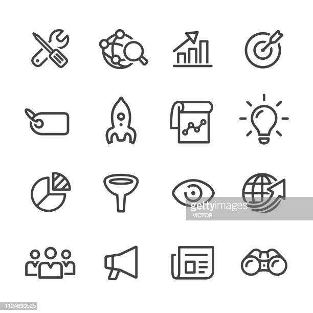 marketing icons - line series - part of a series stock illustrations