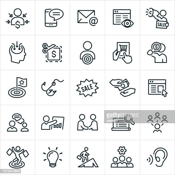 ilustrações, clipart, desenhos animados e ícones de ícones de comercialização - persuasão