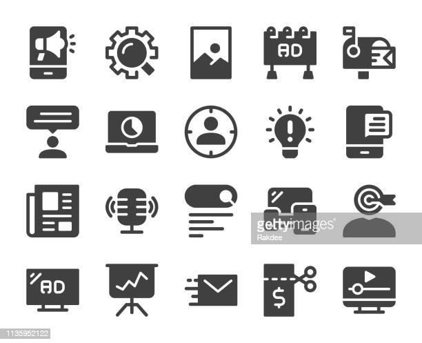 marketing - icons - sponsorship stock illustrations