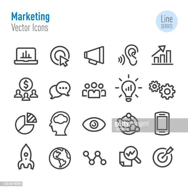 marketing icons - vektor-line-serie - stapellauf stock-grafiken, -clipart, -cartoons und -symbole