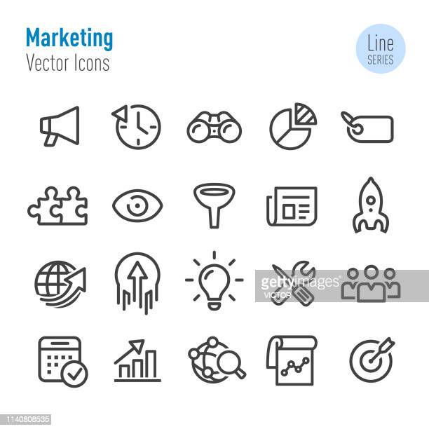 marketing icons - vector line series - part of a series stock illustrations