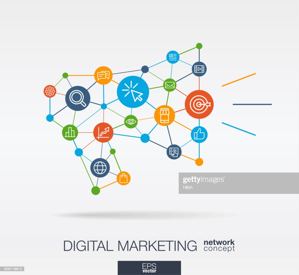 Marketing integrated thin line icons in megaphone message shape. Digital neural network concept