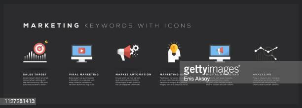marketing keywords with icons - digital marketing stock illustrations