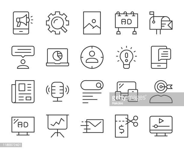 marketing - light line icons - poster stock-grafiken, -clipart, -cartoons und -symbole