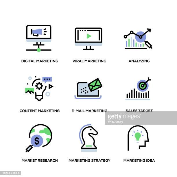 marketing line icon set - human body part stock illustrations