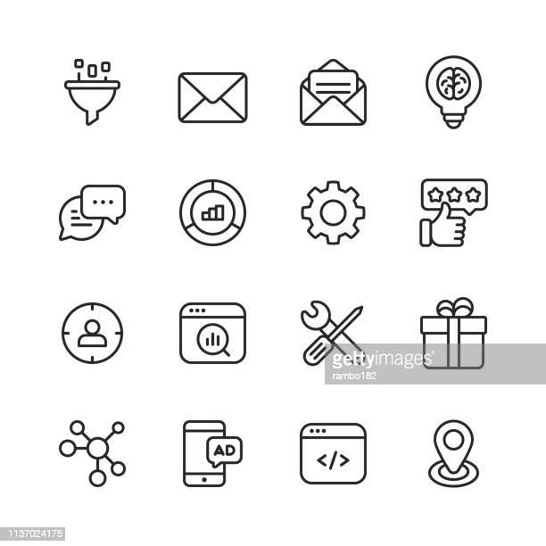 marketing line icons. editable stroke. pixel perfect. for mobile and web. contains such icons as email marketing, performance, seo, advertising, targeting, testimonials. - work tool stock illustrations