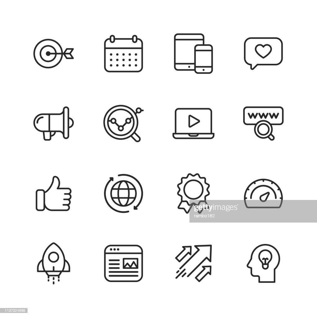 Icone della linea di marketing. Tratto modificabile. Pixel Perfetto. Per dispositivi mobili e Web. Contiene icone come Target, Growth, Brainstorming, Advertising, Social Media. : Illustrazione stock
