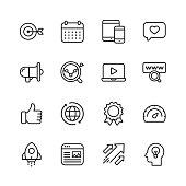 Marketing Line Icons. Editable Stroke. Pixel Perfect. For Mobile and Web. Contains such icons as Target, Growth, Brainstorming, Advertising, Social Media.
