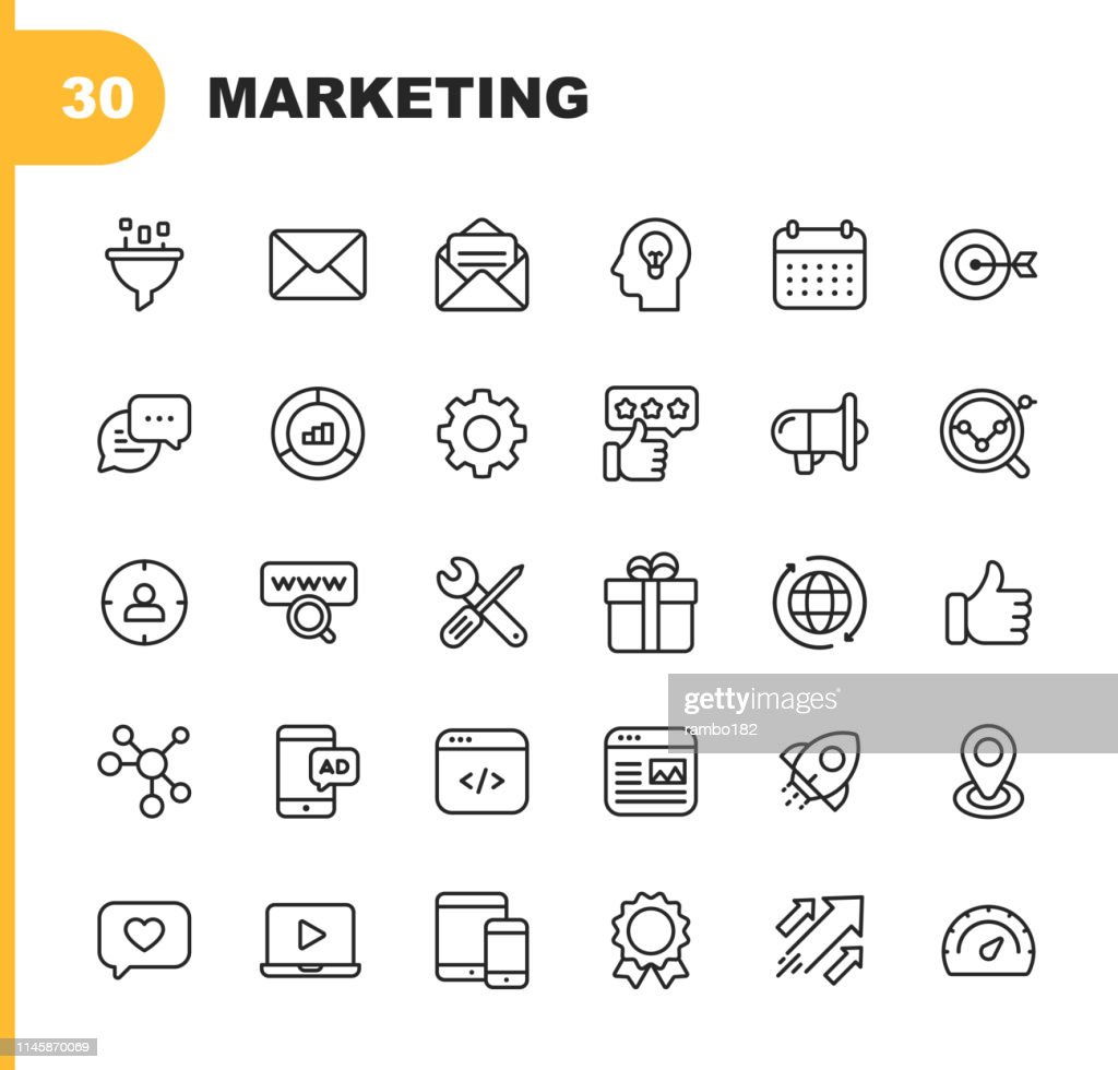 Marketing Line Icons. Editable Stroke. Pixel Perfect. For Mobile and Web. Contains such icons as Email Marketing, Social Media, Advertising, Start Up, Like Button, Video Ads, Global Business. : stock illustration