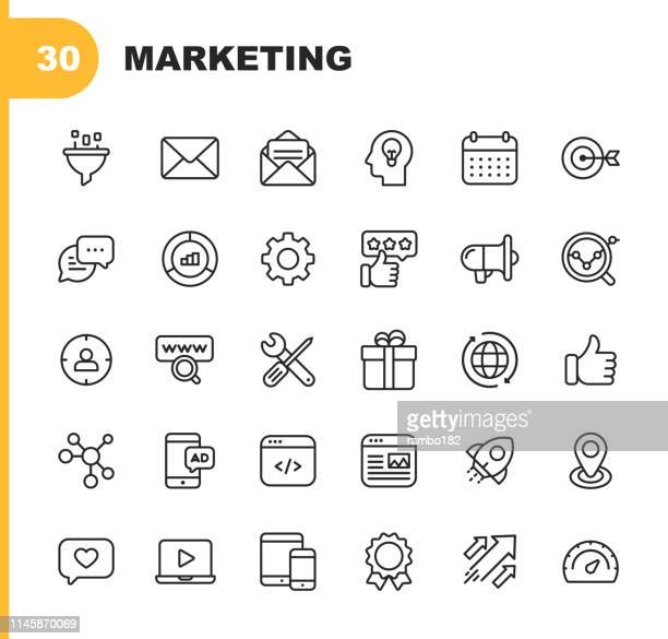 marketing line icons. bearbeitbare stroke. pixel perfect. für mobile und web. enthält solche icons wie e-mail marketing, social media, werbung, start up, like button, video-anzeigen, global business. - kommunikation stock-grafiken, -clipart, -cartoons und -symbole
