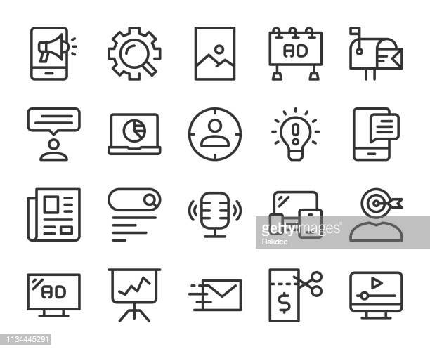 marketing - line icons - podcasting stock illustrations, clip art, cartoons, & icons