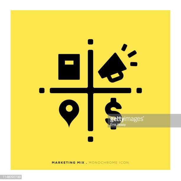 marketing mix monochrome icon - prosperity stock illustrations