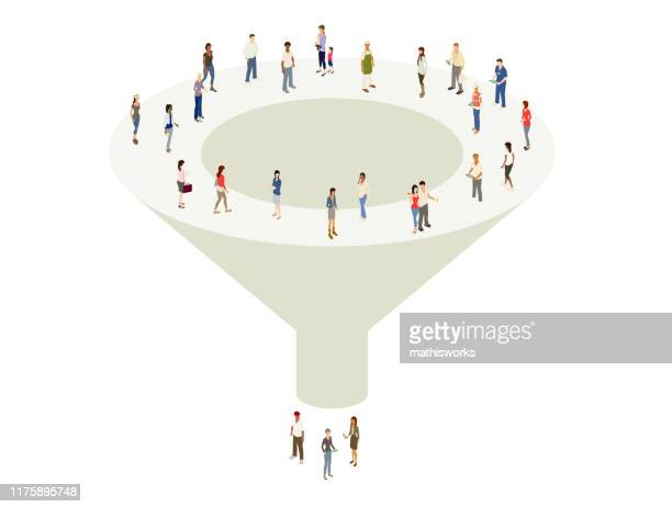 marketing sales funnel - consumerism stock illustrations