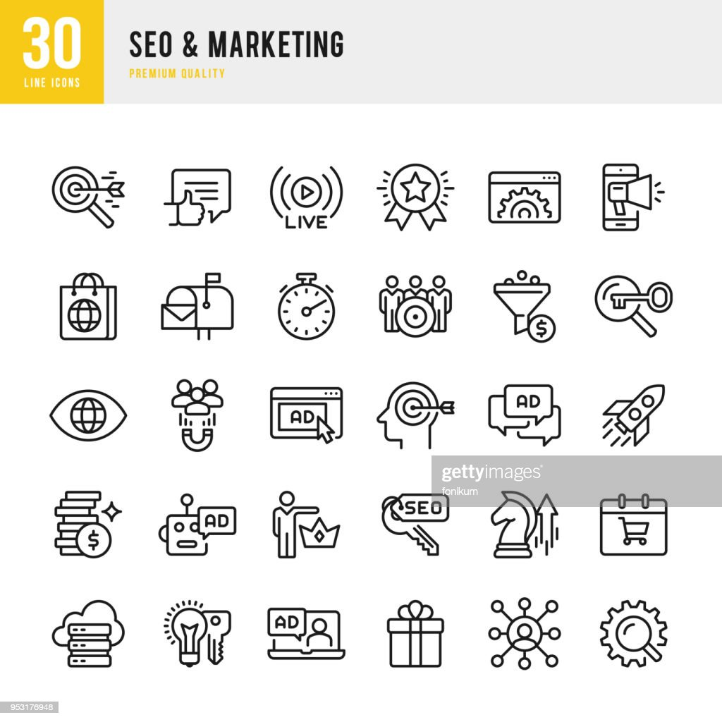 SEO & Marketing - set of thin line vector icons : stock illustration