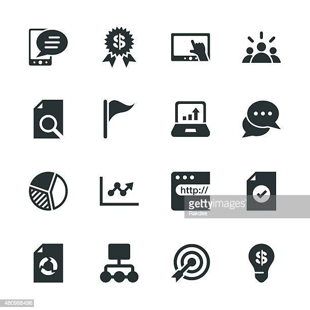 marketing silhouette icons - online advertising stock illustrations, clip art, cartoons, & icons