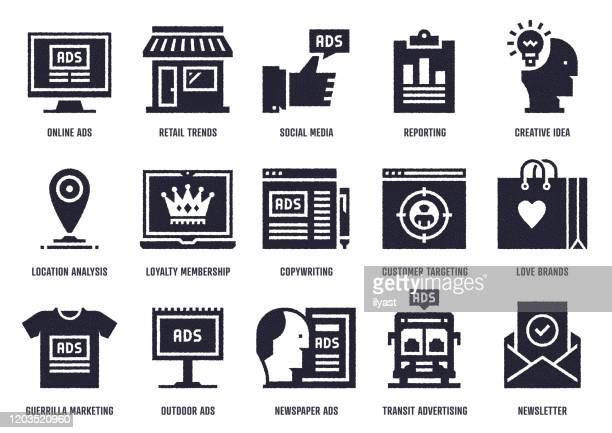 marketing sketch design vector icon pack - newsletter stock illustrations