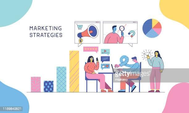 illustrations, cliparts, dessins animés et icônes de stratégies de marketing - marketing numérique