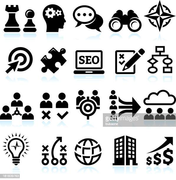 Marketing strategy for Building A Powerful Company vector icon set