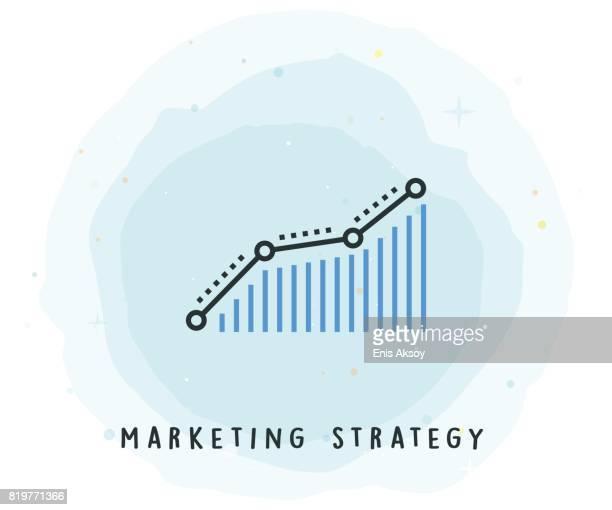 Marketing-Strategie-Symbol mit Aquarell-Patch