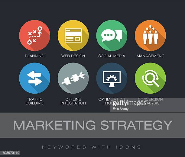ilustrações, clipart, desenhos animados e ícones de marketing strategy keywords with icons - online advertising