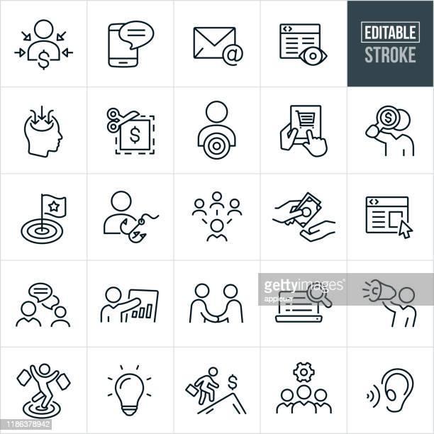 marketing thin line icons - bearbeitbarer strich - e mail stock-grafiken, -clipart, -cartoons und -symbole