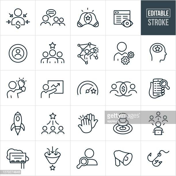 marketing thin line icons - editable stroke - launch event stock illustrations